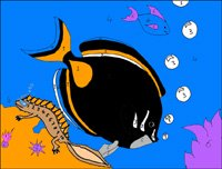 Printable Color By Numbers Newton and Surgeonfish image